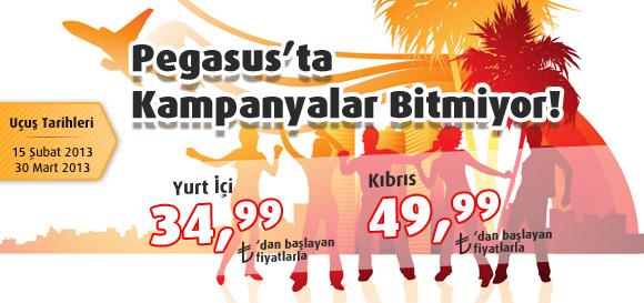 Pegasus ile Yurt içi 34.99 TL, Kıbrıs 49.99 TL'den Fiyatlar