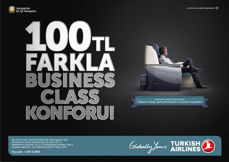 THY ile 100 TL farkla Business Class Konforu